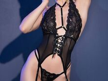 Chilirose Black Lace Guepiere+ String & includes the Stockings